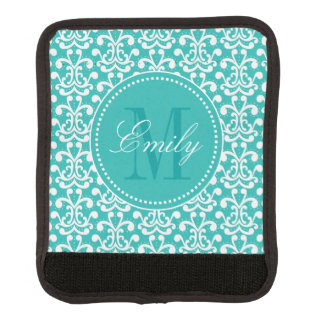 Teal Damask Monogram Initial Luggage Handle Wrap
