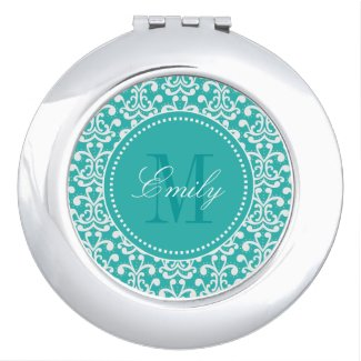 Teal Damask Monogram Personalized Compact Mirror