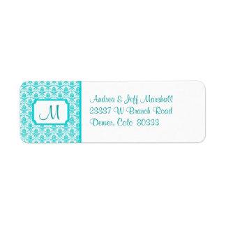 Teal Damask Monogram Return Address Label