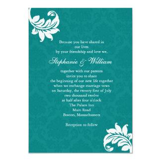 Teal Damask Monogram Wedding Invitation