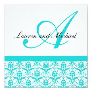 "Teal Damask Monogram Wedding Invitation 5.25"" Square Invitation Card"