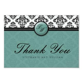 Teal Damask Monogram Wedding Thank You Card