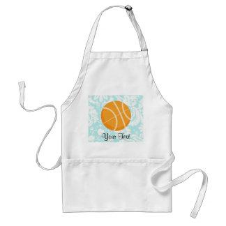 Teal Damask Patten Basketball Apron