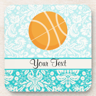 Teal Damask Patten Basketball Coaster