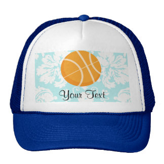 Teal Damask Patten Basketball Trucker Hat