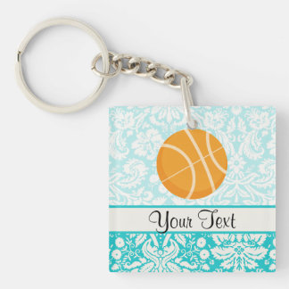 Teal Damask Patten Basketball Keychain