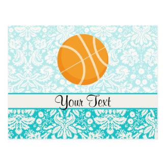 Teal Damask Patten Basketball Postcard