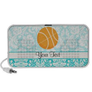 Teal Damask Patten Basketball Travelling Speaker