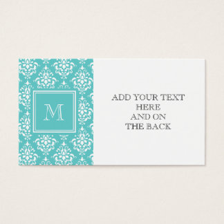 Teal Damask Pattern 1 with Monogram Business Card