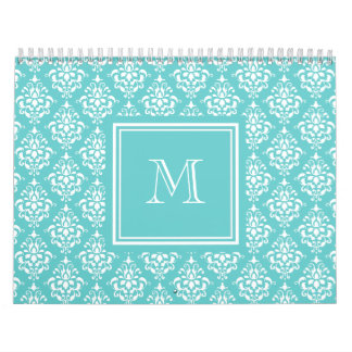 Teal Damask Pattern 1 with Monogram Wall Calendars