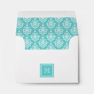 Teal Damask Pattern 1 with Monogram Envelopes