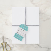 Teal Damask Pattern 1 with Monogram Gift Tags
