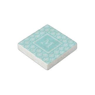Teal Damask Pattern 1 with Monogram Stone Magnet