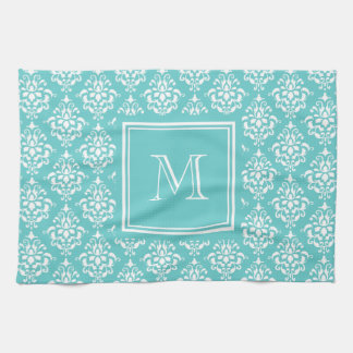 Teal Damask Pattern 1 with Monogram Hand Towel