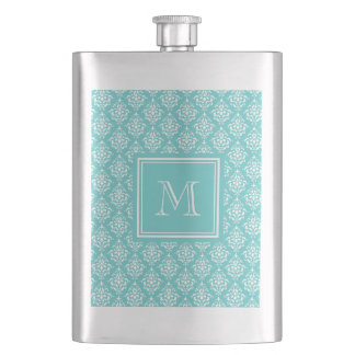 Teal Damask Pattern 1 with Monogram Hip Flask