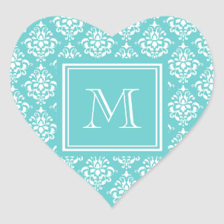 Teal Damask Pattern 1 with Monogram Sticker