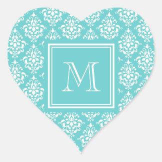 Teal Damask Pattern 1 with Monogram Heart Sticker