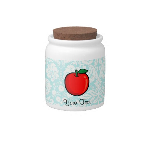 Teal Damask Pattern Apple Candy Dish