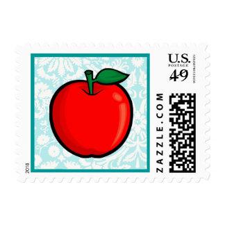 Teal Damask Pattern Apple Stamps