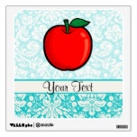 Teal Damask Pattern Apple Wall Decals