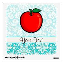 Teal Damask Pattern Apple Wall Sticker