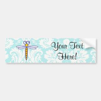 Teal Damask Pattern Dragonfly Bumper Sticker
