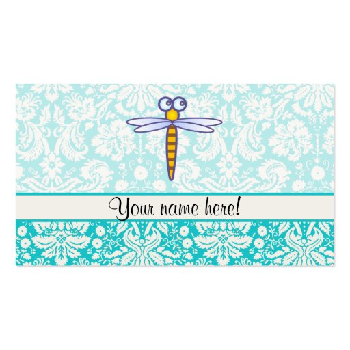 Teal Damask Pattern Dragonfly Business Card