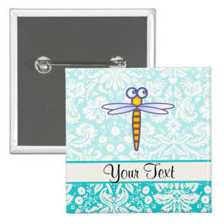 Teal Damask Pattern Dragonfly Button