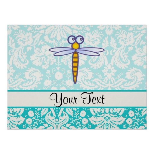 Teal Damask Pattern Dragonfly Posters