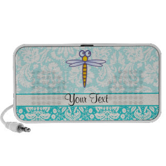 Teal Damask Pattern Dragonfly Portable Speakers