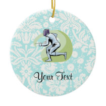 Teal Damask Pattern Fencing Ceramic Ornament