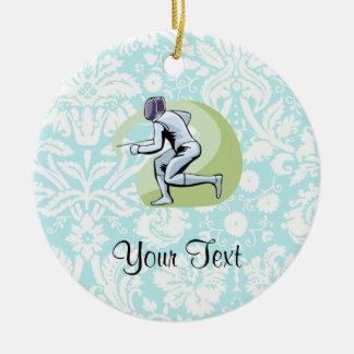 Teal Damask Pattern Fencing Ceramic Ornament