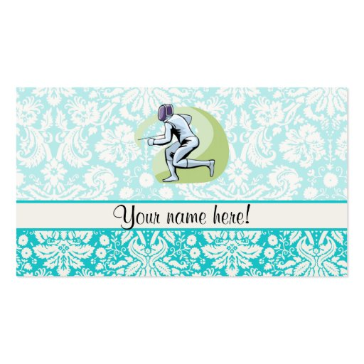 Teal Damask Pattern Fencing Double-Sided Standard Business Cards (Pack Of 100)