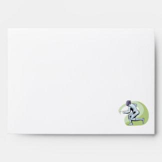 Teal Damask Pattern Fencing Envelopes