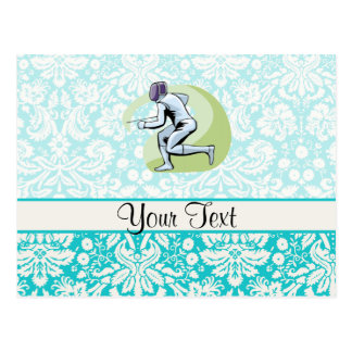 Teal Damask Pattern Fencing Postcards