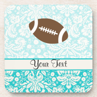 Teal Damask Pattern Football Coaster