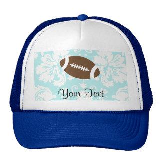 Teal Damask Pattern Football Trucker Hat