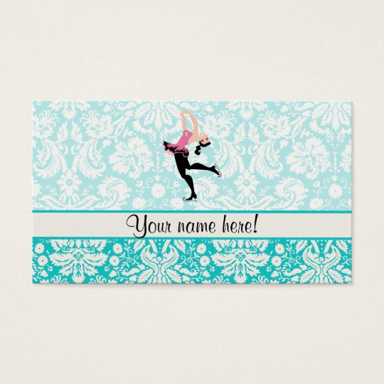 Teal Damask Pattern Ice Skating Business Card