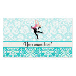 Teal Damask Pattern Ice Skating Business Card Template