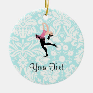 Teal Damask Pattern Ice Skating Ceramic Ornament