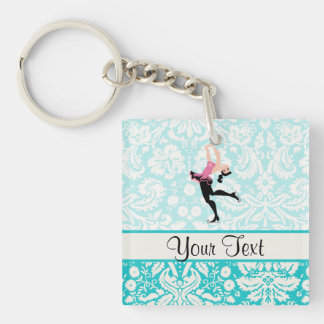 Teal Damask Pattern Ice Skating Keychain