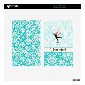 Teal Damask Pattern Ice Skating Kindle Fire Decal