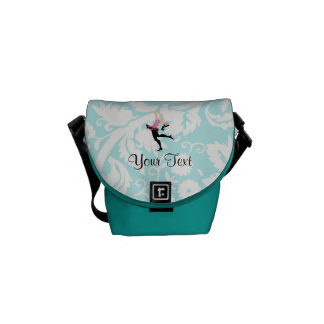 Teal Damask Pattern Ice Skating Messenger Bag