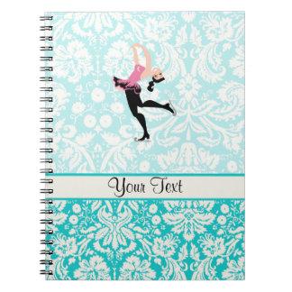 Teal Damask Pattern Ice Skating Notebook