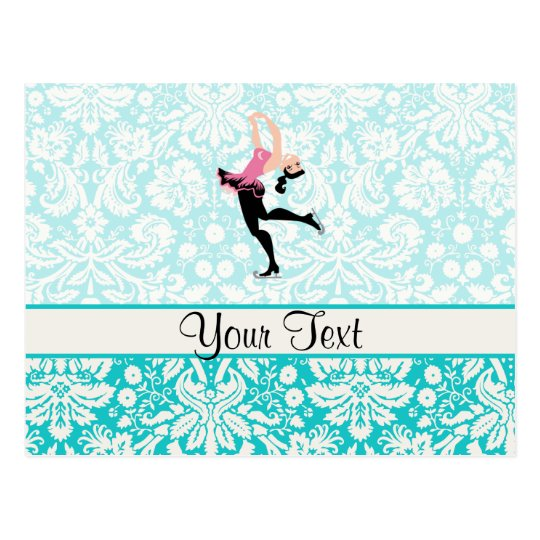 Teal Damask Pattern Ice Skating Postcard