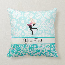 Teal Damask Pattern Ice Skating Throw Pillow