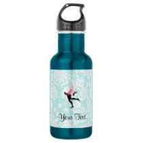 Teal Damask Pattern Ice Skating Water Bottle