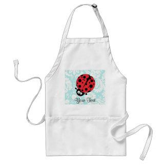 Teal Damask Pattern Ladybug Aprons