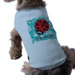 Teal Damask Pattern Ladybug Dog T-shirt