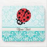 Teal Damask Pattern Ladybug Mouse Pad